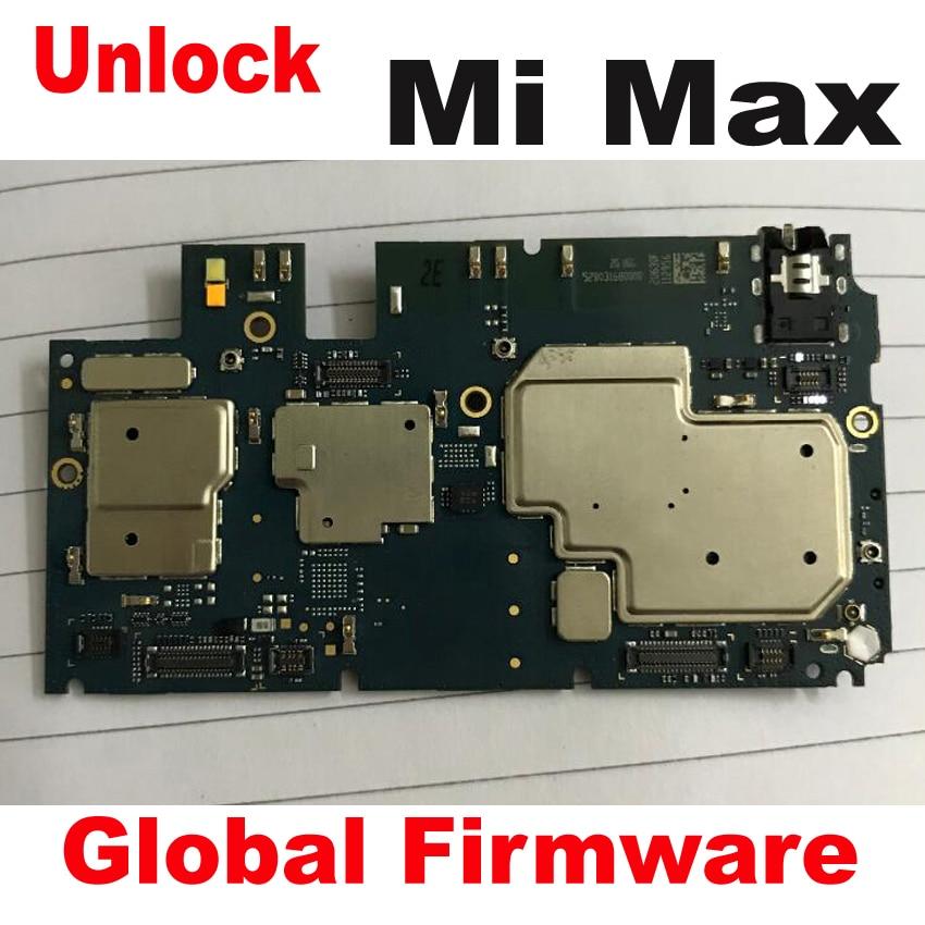 Firmware global Original ha usado la prueba de trabajo desbloqueado placa base para Xiaomi mi Max placa base circuitos tarifa accesorio de cable flexible Set