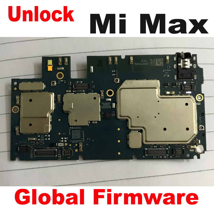 Original Global FirmWare Used Test Working Unlock Mainboard For Xiaomi Mi Max Motherboard Circuits Fee Flex Cable Accessory Set