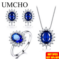 UMCHO 925 Sterling Silver Jewelry Set Nano Blue Sapphire Ring Pendant Stud Earrings For Women Brand Fine Jewelry Top Quality