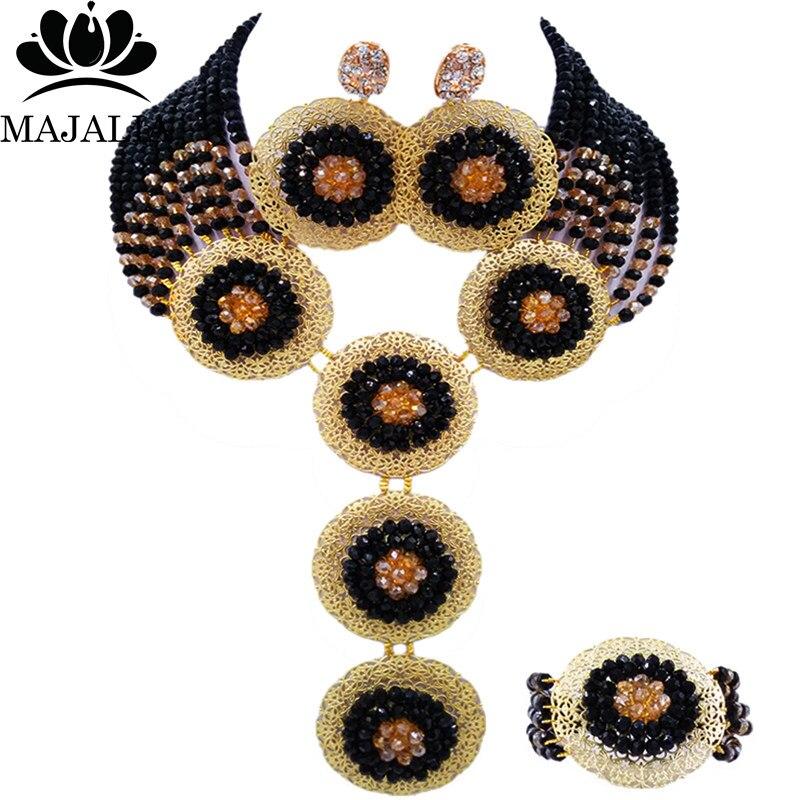 Nigeria Wedding Beads Bridal Wedding Jewelry Black Crystal Necklace African Banquet Costume Accessories Jewelry Set SJ-37