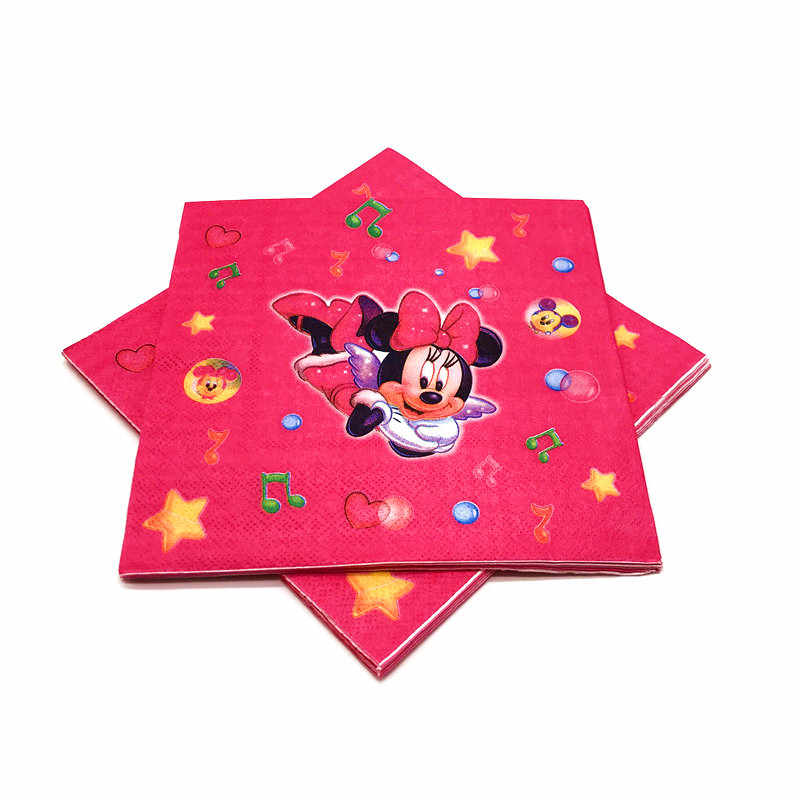Disney Red Minnie Mouse การ์ตูนธีมวันเกิดเด็ก Disposable Tableware Birthday PARTY อุปกรณ์ตกแต่ง
