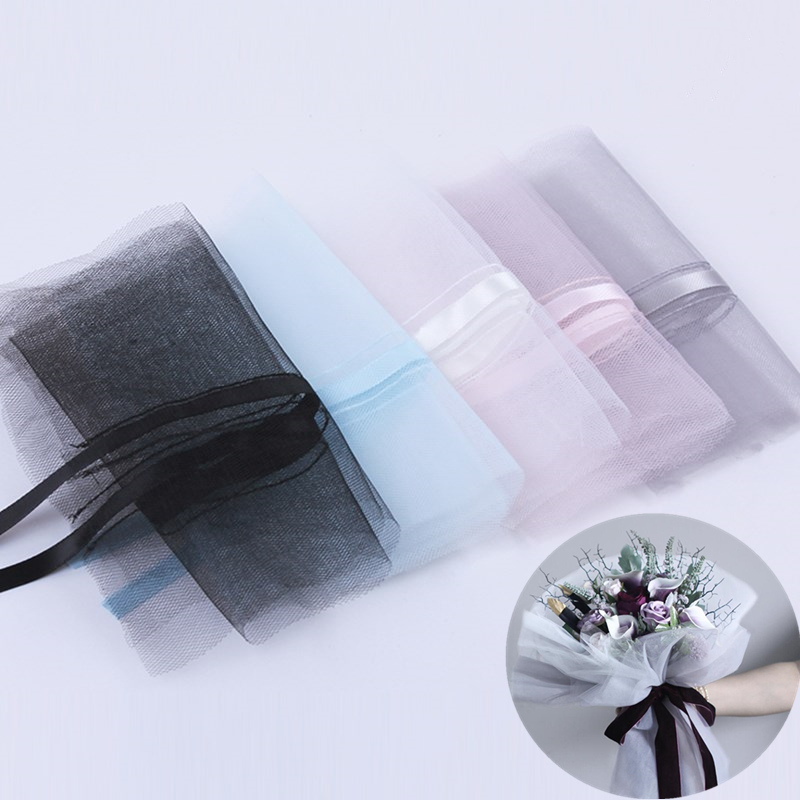 5pc-20pc/lot Organza Fabric Flower Wrapping Materials Florist Flower Bouquet Packaging Mesh Festival Gift Wedding Party Supplies