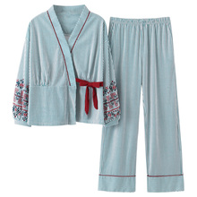 חדש סתיו פיג נשים ילדה סטי פיג מה יפה פסים הדפסת יפני קימונו לנשים בתוספת גודל 3XL 100% כותנה יאקאטה