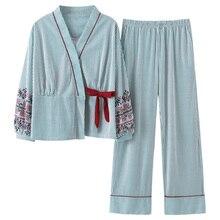 새로운 가을 잠옷 여자 여자 잠옷 세트 사랑스러운 줄무늬 인쇄 일본 기모노 여성용 플러스 사이즈 3xl 100% 코튼 유카타