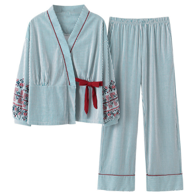 Conjuntos de pijamas femininos listrados, pijamas japoneses estampadas plus size 3xl 100% algodão