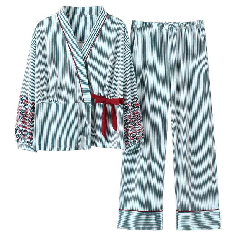 New Autumn Pyjamas Women Girl Pajama Sets Lovely Striped Print Japanese Kimonos For Women Plus Size 3XL 100% Cotton Yukata