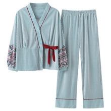 Yeni Sonbahar Pijama Kadın Kız Pijama Setleri Güzel Çizgili Baskı Japon Kimono Kadınlar Için Artı Boyutu 3XL % 100% Pamuk Yukata