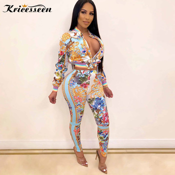 Kricesseen Casual Print Two pieces Pant Set Hot Women Long Sleeve Zipper Top And Pants Suits 2 Piece Outfits Matching Sets - discount item  45% OFF Women's Sets