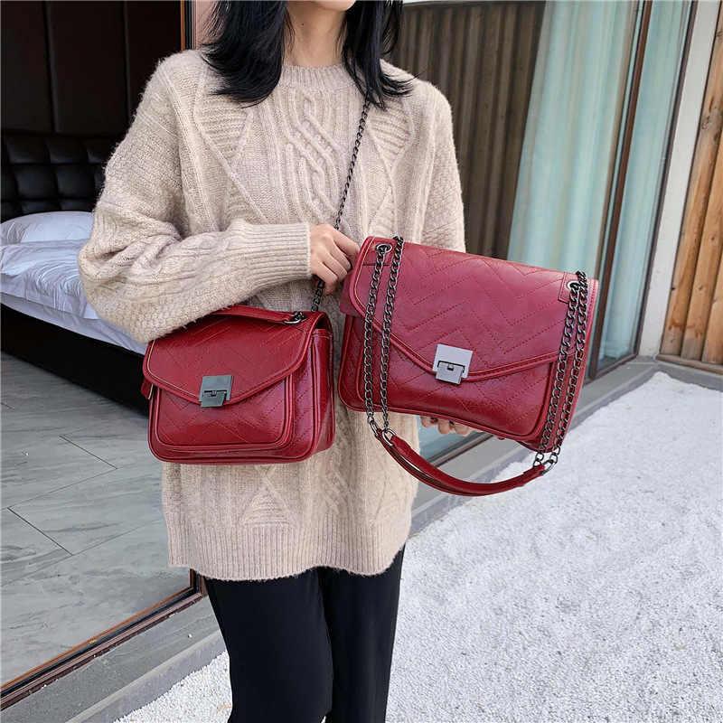 DikizFly klasik postacı çantaları kadın 2019 moda zincirler büyük omuzdan askili çanta kadın askılı çanta çanta lüks çanta ana kesesi