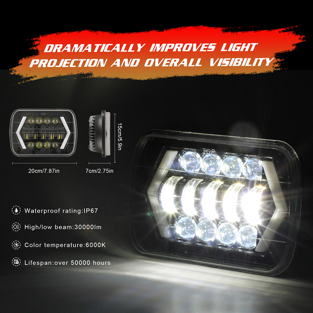 Image 3 - for Jeep Wrangler 300W 7 Inch Combo Led Light Bars Spot Flood Beam  Offroad Car Square LED Work Light Waterproof Fog Light-in Car Fog Lamp from Automobiles & Motorcycles