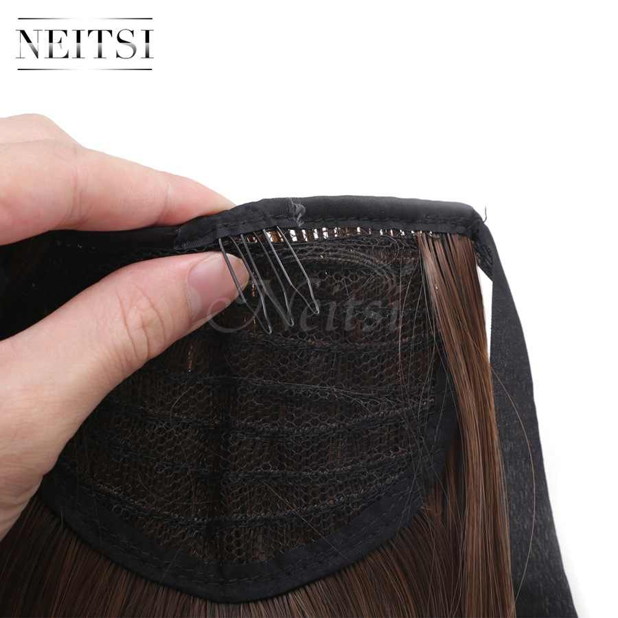 Neitsi 22 ''1 PC Ekor Kuda Klip Di Hairpiece Lurus Cabelos Novels Cheveux M2/30 Warna Tahan Panas Rambut ekstensi