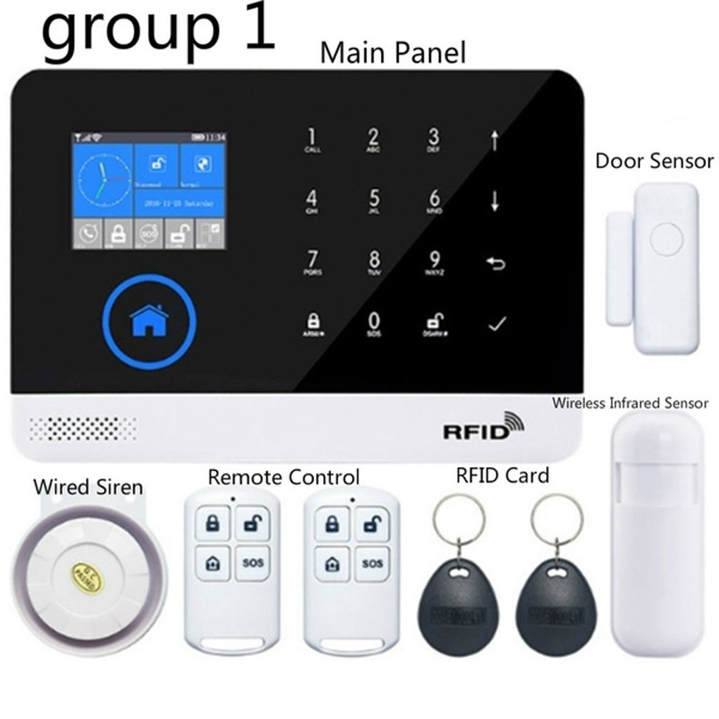 WIFI GSM GPRS Alarm System APP Remote Control RFID Card Arm Disarm With Color Screen SOS Button Languages Switchable