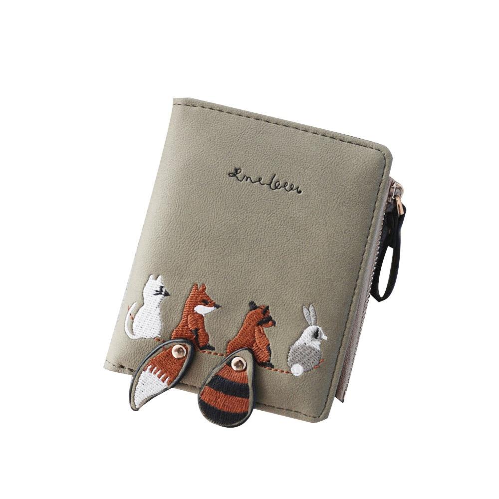 Высококачественный Женский кошелек с милыми мультяшными животными, короткий кожаный женский маленький кошелек для монет, кошелек на молнии, держатель для карт для девочек - Цвет: as shown