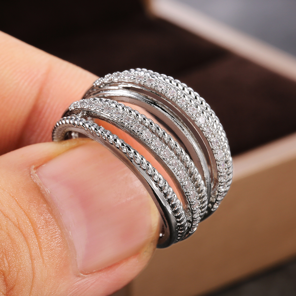 Huitan Luxury Cross Bridal Marriage Rings Special interested Dazzling Crystal CZ Stone Simple Stylish Women Trendy Jewelry Rings