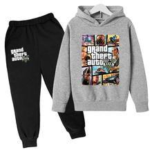 Autumn Grand Theft Auto Hoodies Children Clothe for Boy Top Kid shirt GTA 5 Long Sleeve Girl Cotton Tracksuit+pant 2 Pieces Sets