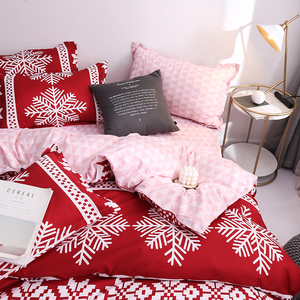 Image 4 - New Christmas Snowflakes Home bedding set 3/ 4pcs duvet cover set AB side bed linen flat sheet bedclothes adult Geometric