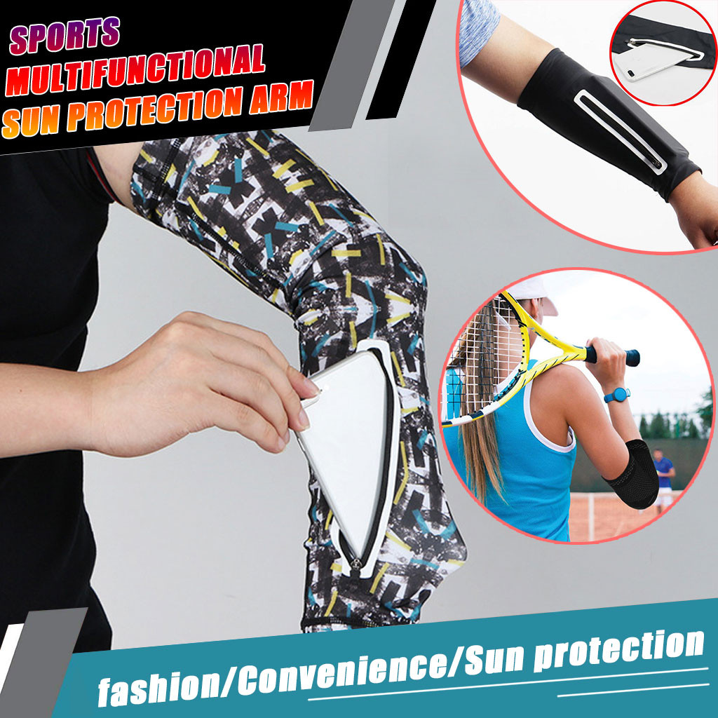 Unisex Zip Sports Sleeve Arm Sleeve Sun Protection Outdoor Sports Bike Wallet Outdoor Camping Tools