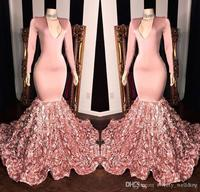 Peach Pink Mermaid Long Prom Dresses 2021 V neck Long Sleeves Satin 3D Floral Sweep Train Formal Party Evening Gowns