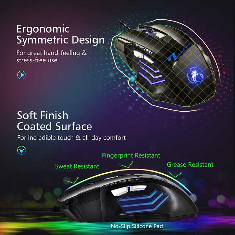 人間工学有線ゲーミングマウス 7 ボタン LED 5500 DPI USB コンピュータマウスゲーマーマウス X7 サイレントとモウズ用バックライト pc のラップトップ