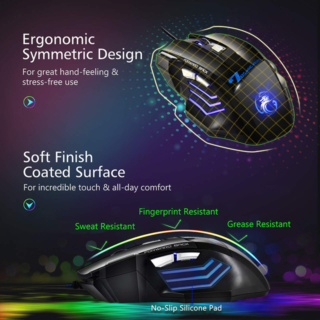 Ergonomic Wired Gaming Mouse 7 Button 5500 DPI LED USB Computer Mouse Gamer Mice X7 Silent Mause With Backlight For PC Laptop 4