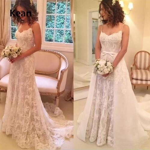 Spaghetti Straps Wedding Dress Applique Detachable Train Illusion De Noiva Dubai Arabic Wedding Gown Bride Dress Robe De Mariee