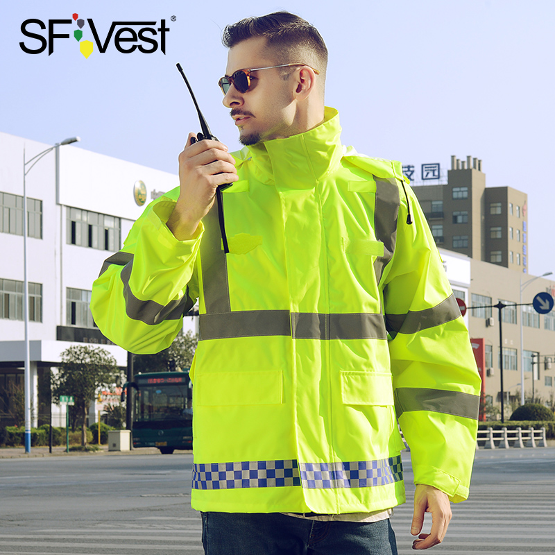 SFVest High Visibility Reflective Rainwear Coat Luminous Safety Raincoat Traffic Waterproof Outdoor Working Protective Clothing