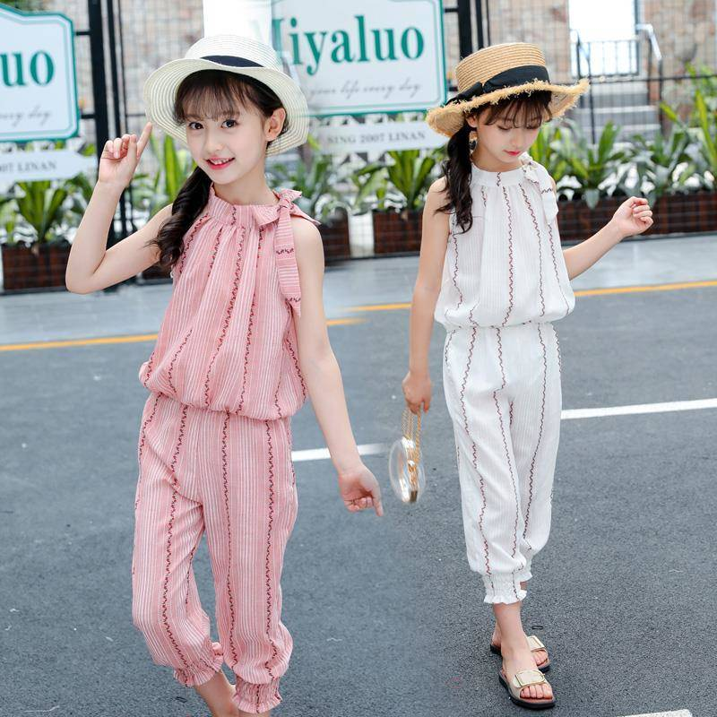 2020 Child Girl Clothing Set Summer Clothes Suit For Girls Striped Casual Kids Clothing For 6 8 12 Years Teen Children's Costume