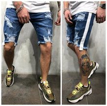 цены Fashion Side Stripe Shorts Jeans For Men Ripped Hole Male Short Denim Pants Summer Slim Casual Streetwear Short Blue Jeans 3XL