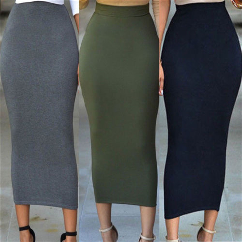 2019 FASHION High Waist Solid Office Bodycon Long Skirts New Gray Green Blue Women Cotton Stretch Slim Pencil Skirt Casual Hot