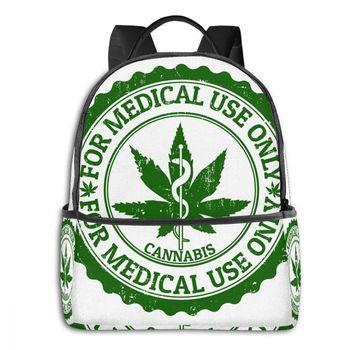 Marijuana Stamp Backpack Boy Girl School Bag for Teenager Student Shoulder Bag Travel Bag