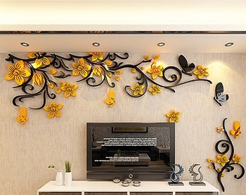 DIY Removable Vinyl Flower Wall Sticker Modern Decals For Wall Decor TV Background Decoration Mural Wallpaper For Living Room 9