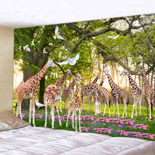 Giraffe Tapestry Glowing Psychedelic Wall Hanging Forest giraffe Boho Home Decor Art Cloth Fabric Large Size