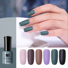 NEE JOLIE 8ml Matte Nail Polish Black Solid Color Pink Art Oily Varnish Dull DIY Tool 12 Colors