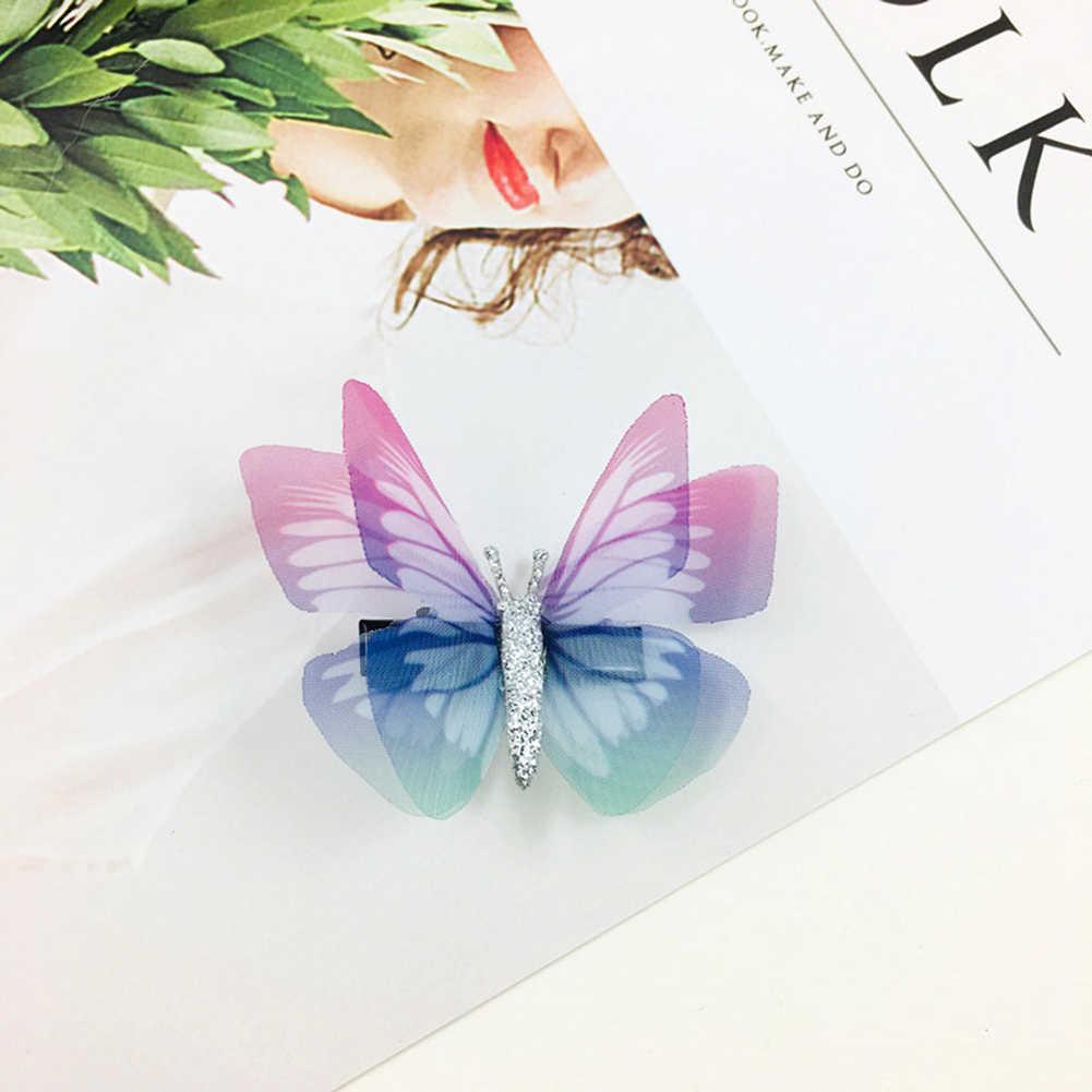 1 unidades/pacote meninas bonito colorido simulação borboleta grampos de cabelo doce ornamento de cabelo bandana hairpins crianças acessórios para o cabelo