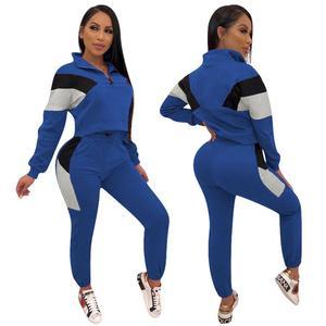 Image 5 - Conjuntos de duas peças fatos de treino 2020 primavera autum feminino zíper cor bloco curto moletom e lápis pant define sportwears sweatsuits