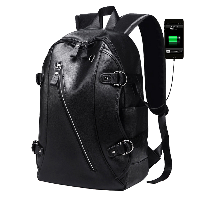 Men Backpack USB Charging Waterproof PU Leather 14 Inch School Laptop Bag