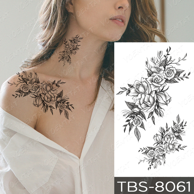 Waterproof Temporary Tattoo Sticker Cross Skull Flowers Flash Tattoos Rose Peony Body Art Arm Water Transfer Fake Tatoo Women 2