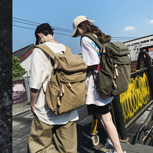 Image 2 - Large Capacity Men Vintage Travel Climb Laptop Backpack Wash Canvas Backpack Male Retro Casual Rucksack Teenagers School Bags