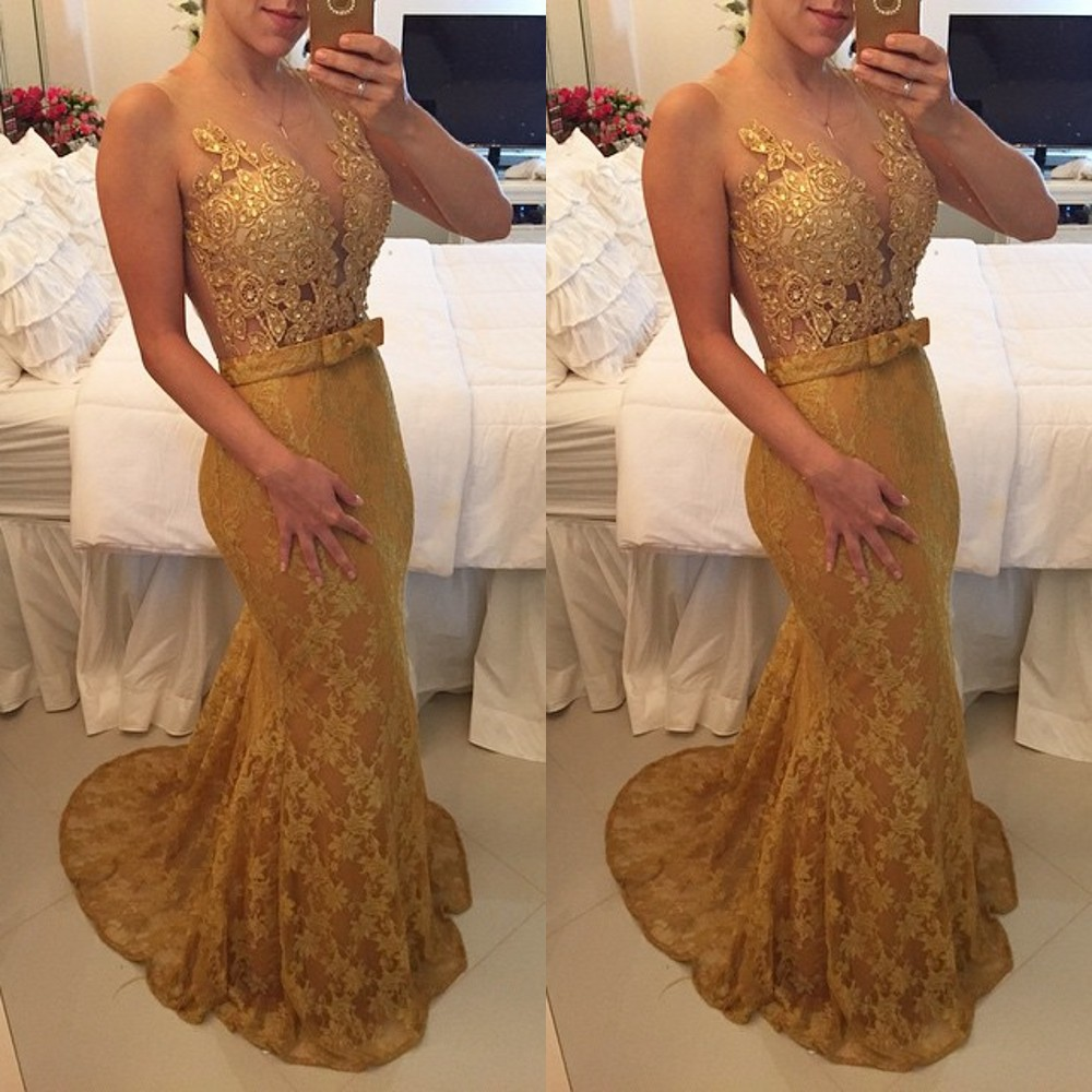 Sexy V-neck Gold Lace Applique Beautiful Lady Dress Long Evening Gown Sexy Sheer Back Mermaid 2018 Mother Of The Bride Dresses