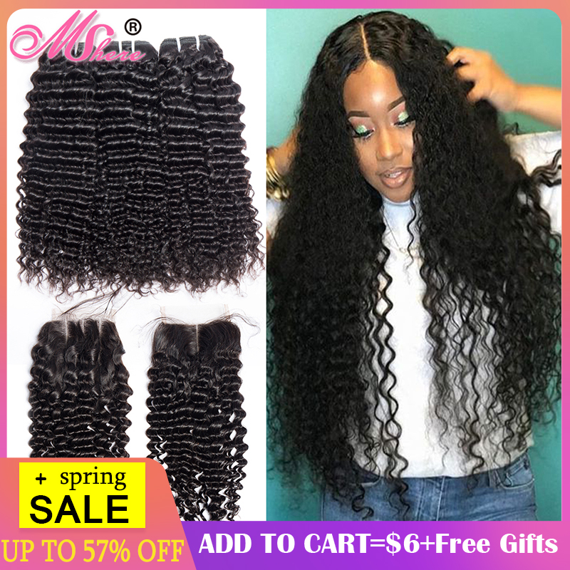 Mshere Curly Wave Closure Bundles Human-Hair Peruvian Deep with Free-Part Lace 4pcs/Lot