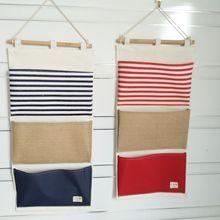 Креативная простая хлопковая льняная вертикальная сумка с тремя карманами хранение разного мешка многофункциональная подвесная сумка для хранения ткань для домашнего хранения B