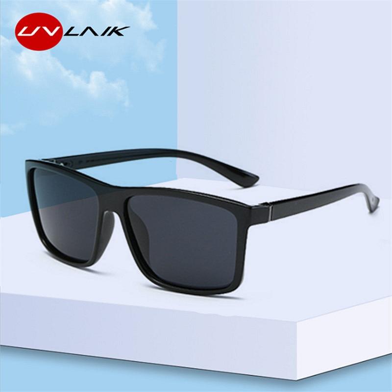 UVLAIK Men Polarized Sunglasses Brand Vintage Square Driving Movement Sun Glasses Men Driver Safety Protect UV400 Eyeglasses
