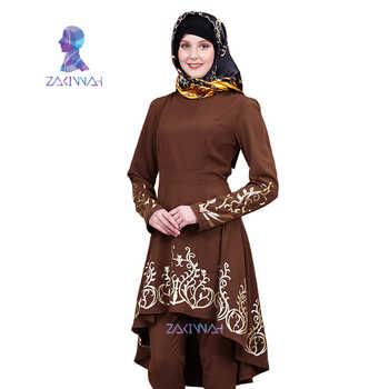 ZK009 Fashion Muslim Solid color hot stamping top gilded Printing Women's clothing Middle East Ramadan Islamic Abaya - DISCOUNT ITEM  55% OFF All Category