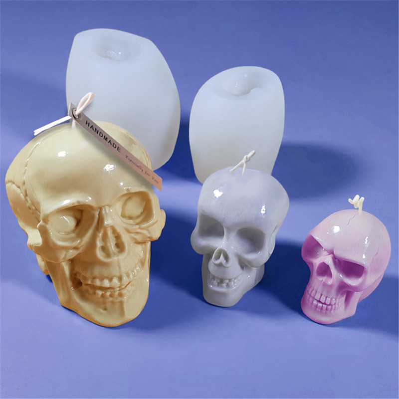 Skull Silicone Candle Mold Mousse Cake Decoration DIY Candle Plaster Mould Handmade Soap Making Tools Ice Cube Candy Molds