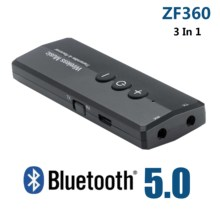 ZF 360 3 in 1 무선 블루투스 V5.0 오디오 어댑터 + EDR USB 송신기 수신기 컴퓨터 홈 TV 헤드폰 PC 자동차