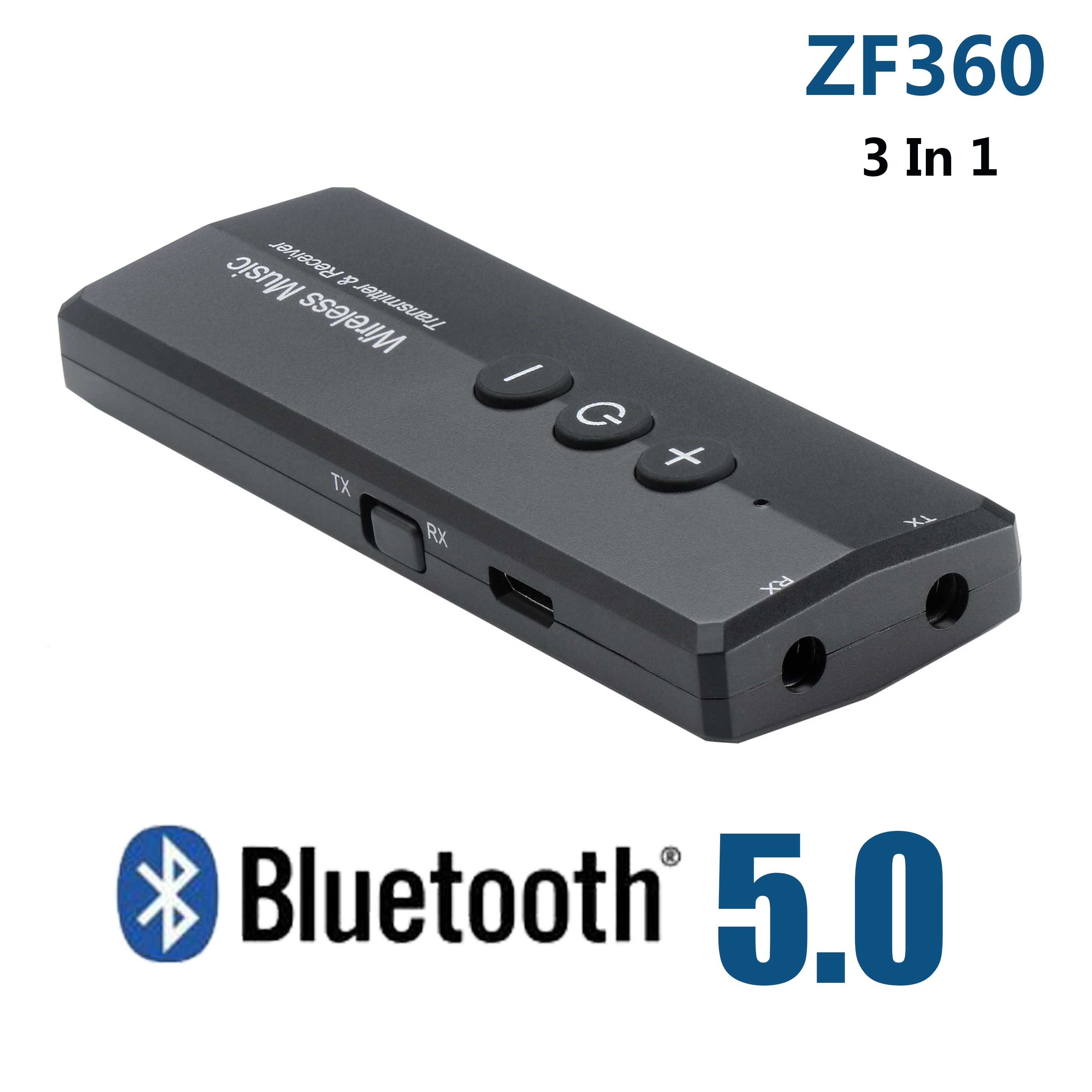 ZF-360 3-in-1 Wireless Bluetooth V5.0 Audio Adapter+ EDR USB Transmitter Receiver For Computer Home TV Headphone PC Car