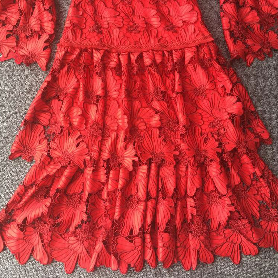 High Quality Winter Women Red Dress Flare Sleeve Hollow Out Ruffled Party Dress Lace Dresses Women Party Night Vestidos Flower