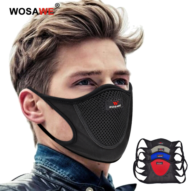 WOSAWE Washable Reusable Motorcycle Face Mask with Mesh Filter Breathable Mouth Covers Anti-dust Anti-smog Face Shield Outdoor
