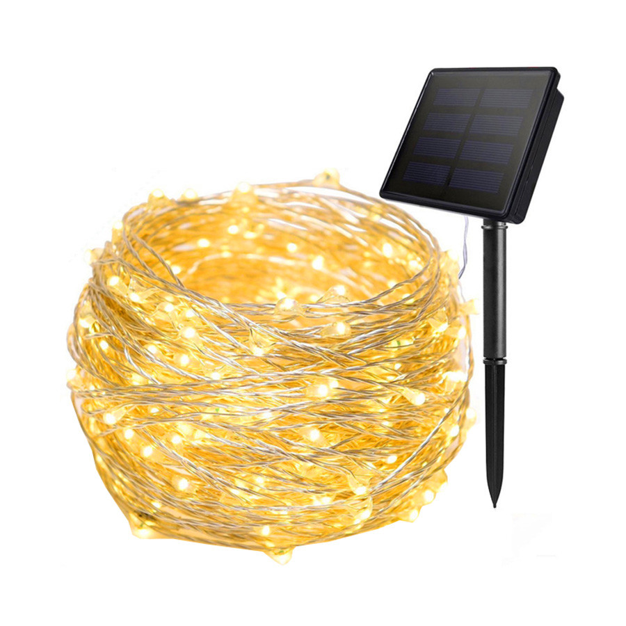 Thrisdar 20M 30M 40M Outdoor Solar Copper Wire LED String Light Holiday Christmas Party Copper Solar LED String Garland Light