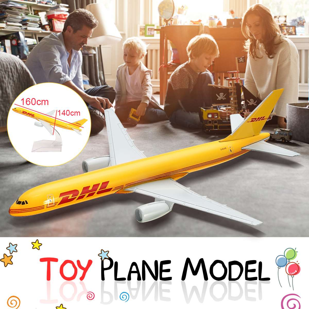 Airplane 16cm Metal Plane Model 1:400 Aircraft B757 DHL Kargo Aeroplane Scale Desk Diecast Alloy Toys image